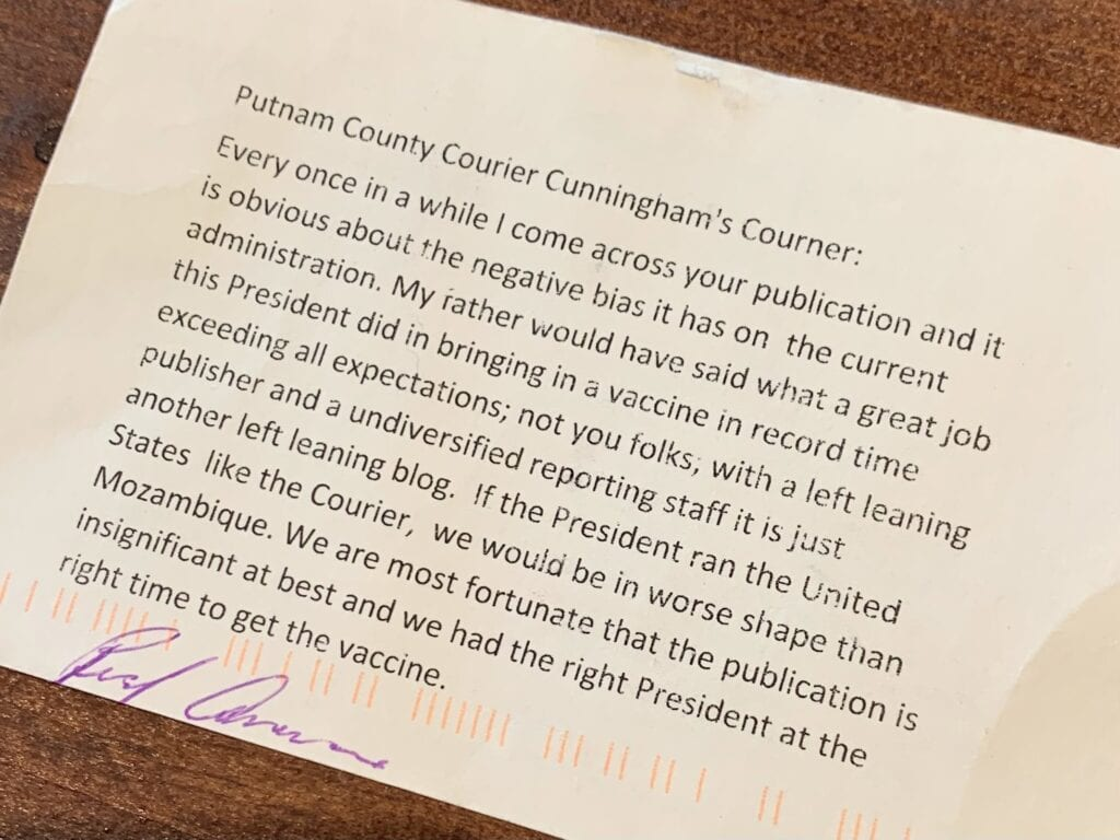 Below, the postcard missive from a discontented reader.